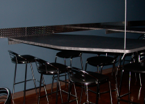 suspended table, table with no legs, table on a cable, cable table, floating table