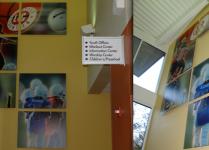 wall art, wall collage, church directional signs, cool directional signs, building signs, aluminum signs, custom sign design, church interior sign, directional signage, classroom signs, room banners, youth room banners, youth room design, sound panels, printed sound baffels