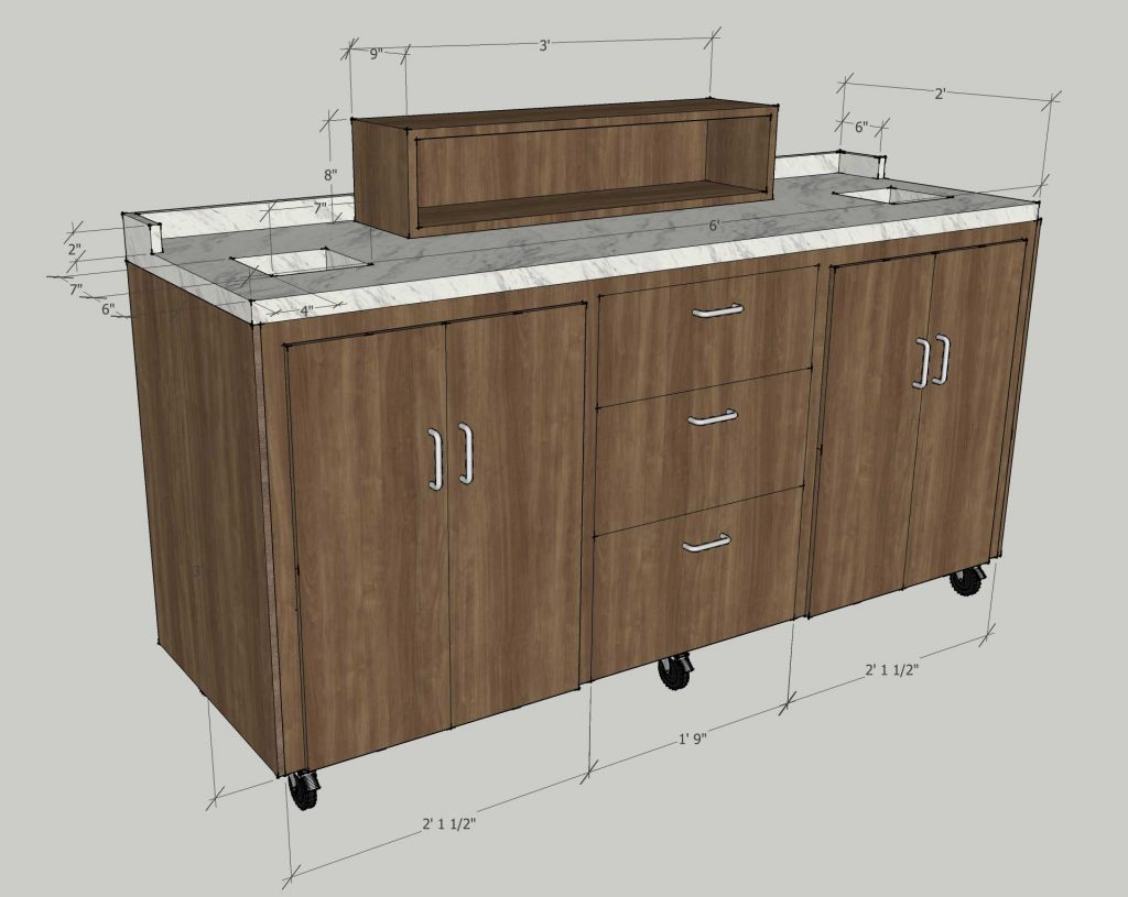 10 foot x 8 foot x 42 inches u shaped reception desk for Coffee carts for office