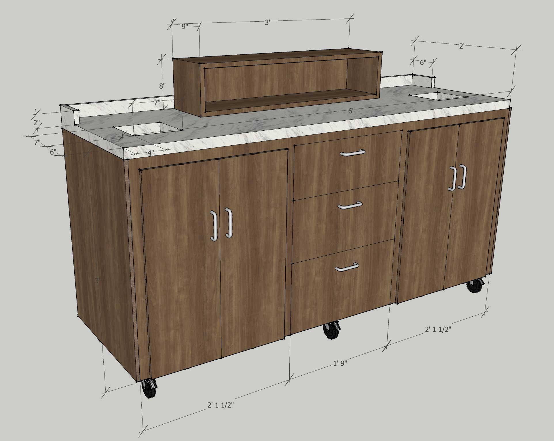 Six foot rolling coffee cart envisionary images for Coffee cart design