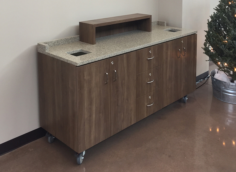 rolling coffee bar, coffee cart, portable coffee cart, rolling desk