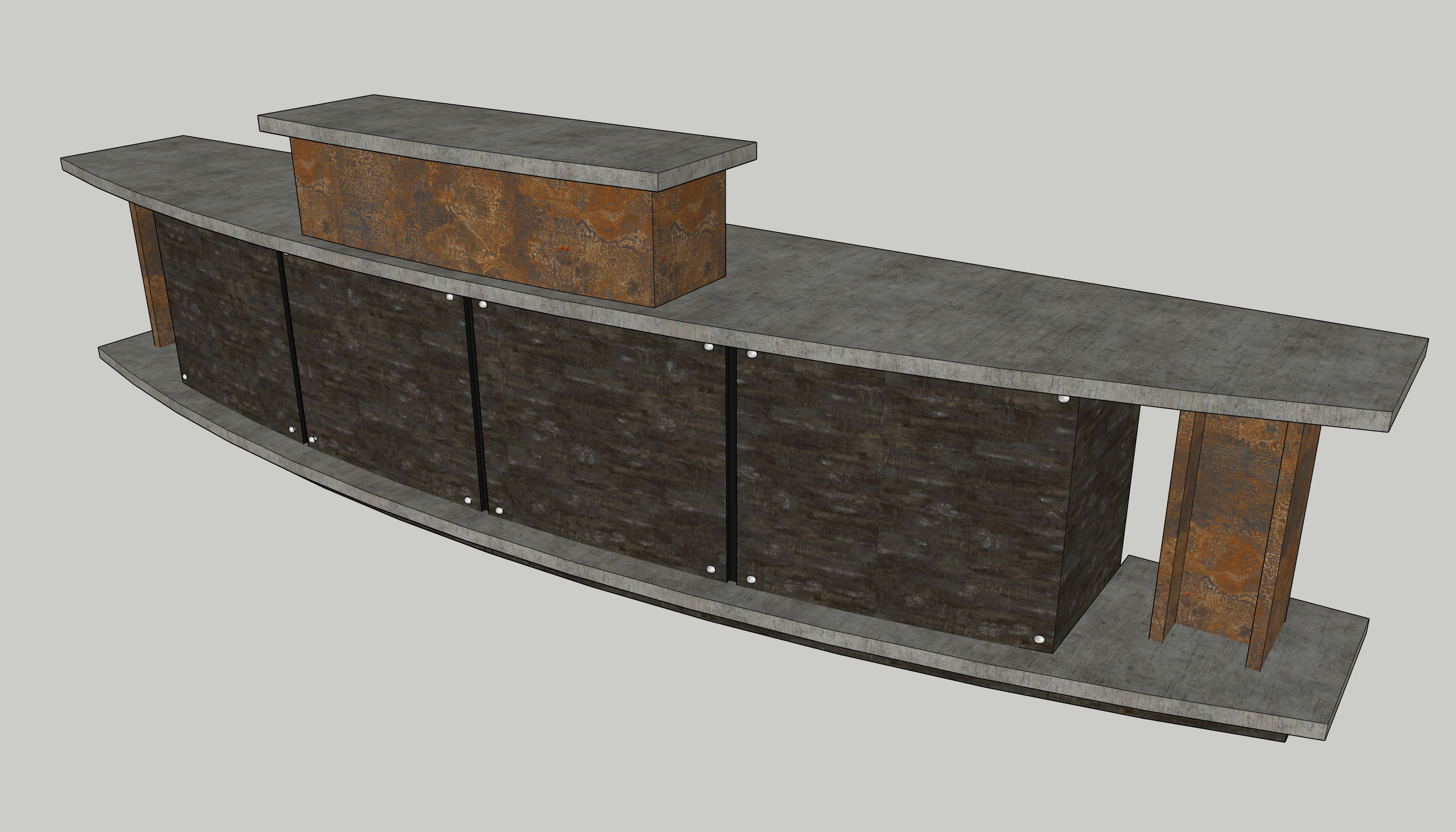 Industrial designed welcome reception desk