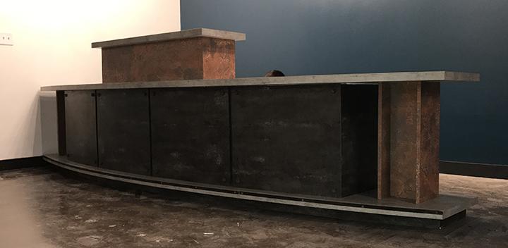Industrial designed welcome reception desk
