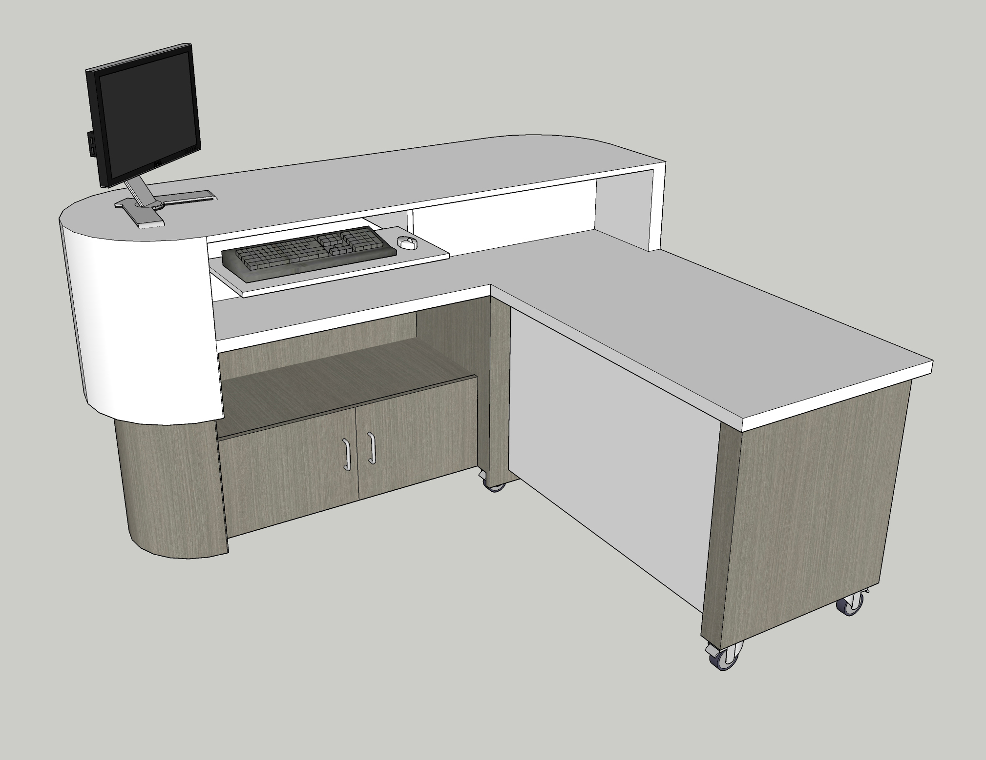 Standing work desk with ADA compliant lower desk surface