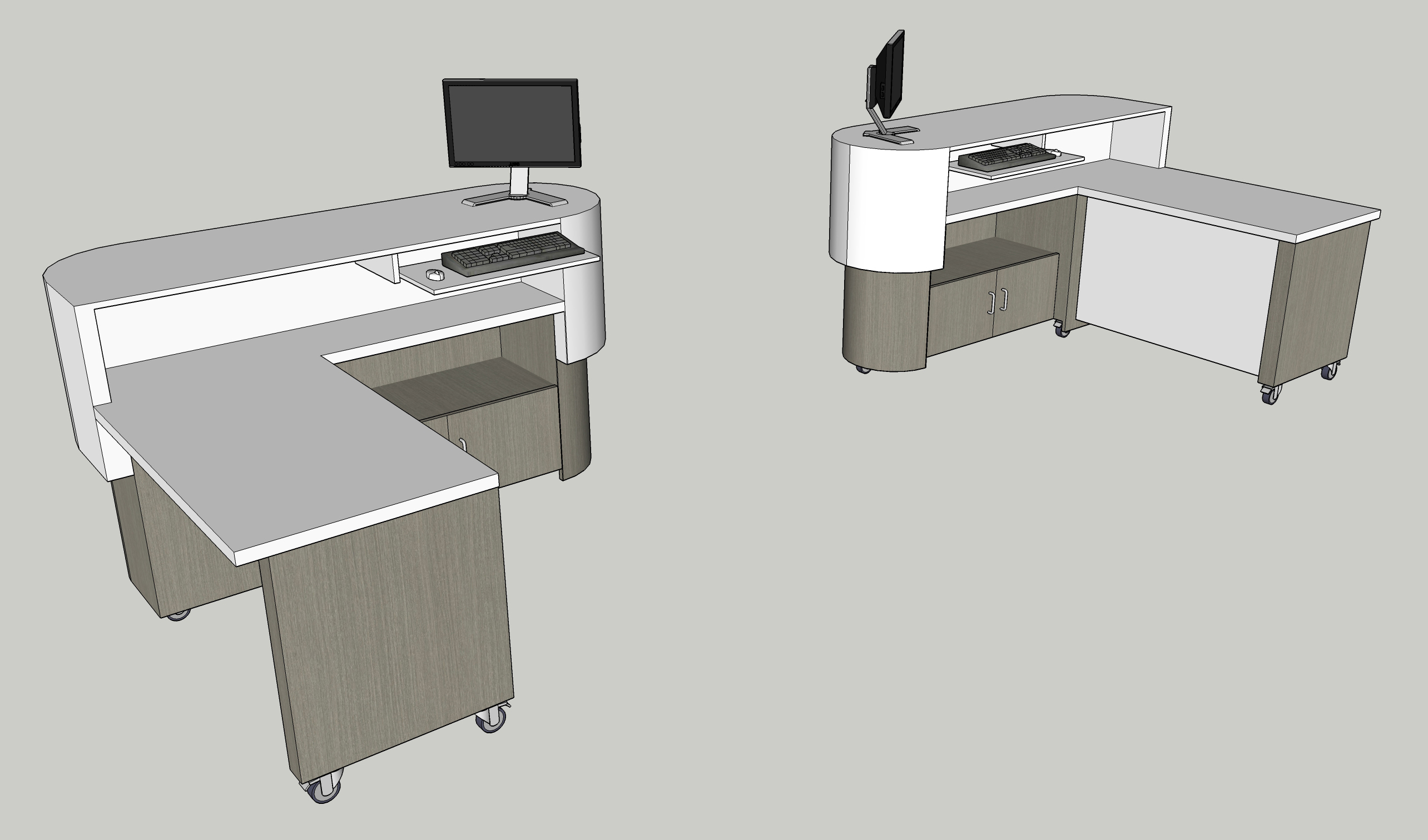 Standing work station with ADA compliant desk surface
